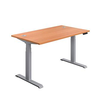 Economy Sit Stand Desk 1800 x 800 Beech Silver